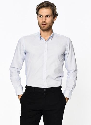 Daffari Desenli Slim Fit Gömlek Beyaz